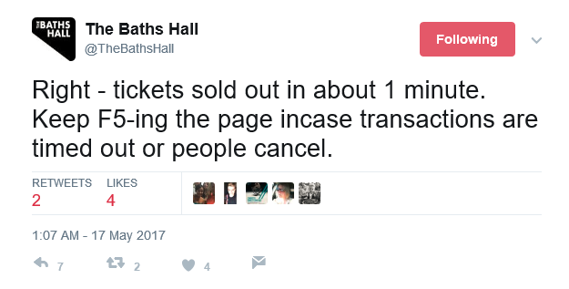 The Baths Hall Twitter Sold Out Arcade Fire